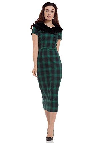 Voodoo Vixen -  Vestito  - Matita - A quadri - Maniche corte  - Donna verde L