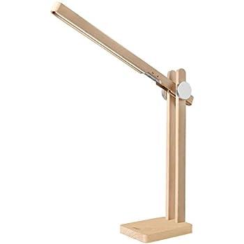 AUKEY LED Schreibtischlampe, Naturholz Design Schreibtischleuchte mit 3 Helligkeitsstufen und 3 Beleuchtungsmodi für Lernen, Büro, Arbeitszimmer und Wohnzimmer