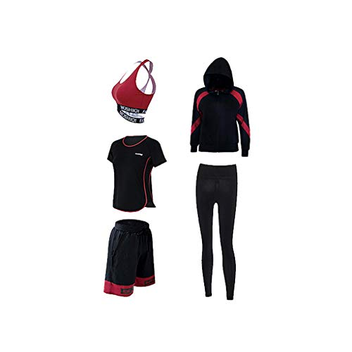 Yoga Kleidung Trainingskleidung Laufanzug Fünf-teilige Damen Sport Fitness Anzug Yoga Kleidung Lässige Sportbekleidung (Color : 2, Size : M)