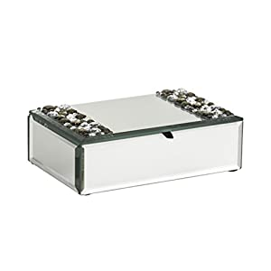 Premier Housewares Mirrored Jewellery Box with Jewel Detail, 5 x 17 x 11 cm