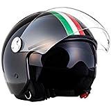 ARROW HELMETS AV-63 Italy Black Helmet Motorrad-Helm Vespa-Helm Scooter-Helm Vintage Cruiser Biker Roller-Helm Pilot Bobber Mofa Jet-Helm Retro Chopper, ECE zertifiziert, inkl. Sonnenvisier, inkl. Stofftragetasche, Schwarz (Italy), XL (61-62cm)