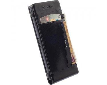 Krusell Kalmar Wallet Schwarz–Kissenbezüge für Mobiltelefone (Handyschutztasche, Sony, Sony Xperia M4Aqua/M4Aqua Dual, schwarz)