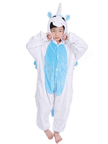 Tuopuda Kinder Kigurumi Pyjamas Tier Schlafanzug Jumpsuit Nachtwäsche Unisex Cosplay Kostüm für Mädchen und Jungen Halloween Karneval Fasching (L = 110 - 120 cm height, Weißes Einhorn) (Passende Kostüme Für Jungen Und Mädchen)