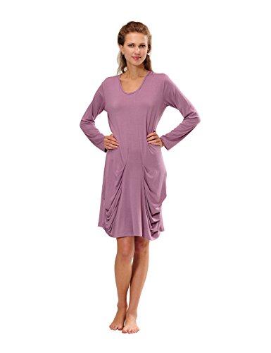RAIKOU Damen Langarm Hauskleid Freizeitkleid Nachthemd aus Viskose, weich und leicht Flieder