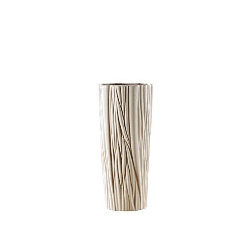 Puro.lifestyle-33,7cm ondulato cilindri vaso-decorazione in ceramica beige scanalato vaso in porcellana artigianato regali di nozze welcome home warming regalo di compleanno presenta