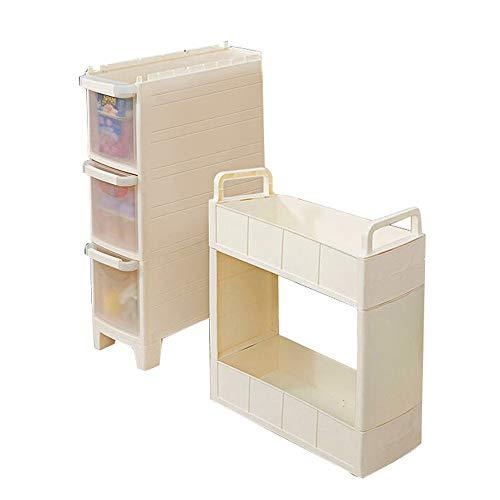 ACZZ Storage Tower 3 Schubladen Kombination Gap Rack Organizer Kühlschrank Küche Wohnzimmer - 18Cm Breite Abnehmbarer Boden Lagerschrank 5 Schichten Kunststoff Weiß -