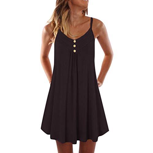HEATLE Kleider Für Damen, Mode Solide ärmellose Spaghetti Strap Double Breasted Plain Shift Lose Über Das Knie Strand Beiläufig Kleidkurze Kleider Damen Sommer(Schwarz,XL (EU:40)) -