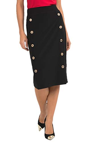 Joseph Ribkoff Black Pencil Skirt with Gold Button Accent Style - 193090 Fall 2019