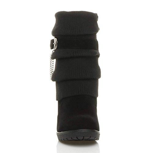 Femmes talon haut compensé tricoté hiver hauteur du mollet bottines pointure Noir