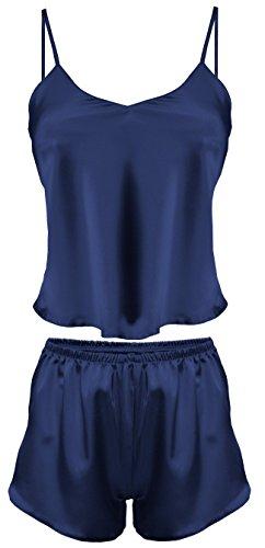 Dkaren-Nachtwäsche Damen Wäsche-Set aus Satin KAREN (XS �?2XL) Marine