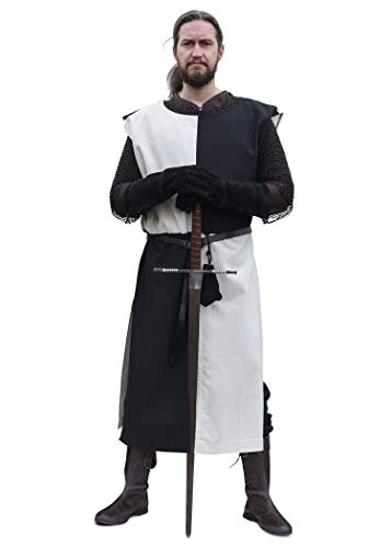 Armee Kostüm Schwarzer Ritter - Battle-Merchant Waffenrock Wappenrock Eckhart einfarbig/schachbrett S-XXL div Farben Ritter Mittelalter Kostüm (S/L, Natur/Schwarz)
