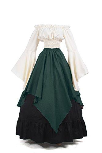 he viktorianischen Schulter Vintage Kleid Königin Kostüm Top und Rock (Renaissance Kleider Kostüme)