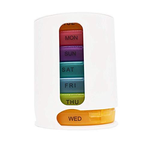 Tablettenbox 7 Tage Morgens Abends Medikamentendosierer 7 Tage Pillendose Pillenbox Tablettendose Tablettenbox Wochendosierer Morgens Mittags Abends und Pillendose mit 3 Fächern für Unterwegs (Weiß)