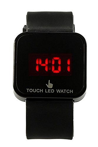 Reloj de mujer - SODIAL(R)Colorido unisexo LED Digital pantalla tactil Reloj de pulsera de silicona Negro