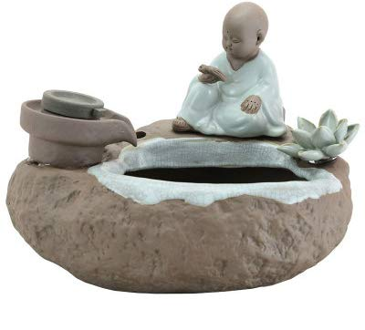 TOYBO ERMEI Flow Intelligence Aquarium Ceramic Ornaments Chinese Zen small Monk in The Water Bonsai Lucky Home Jewelry Craft Fish Tank Zen Usb