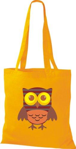 Stoffbeutel Bunte Eule niedliche Tragetasche mit Punkte Karos streifen Owl Retro diverse Farbe gelb