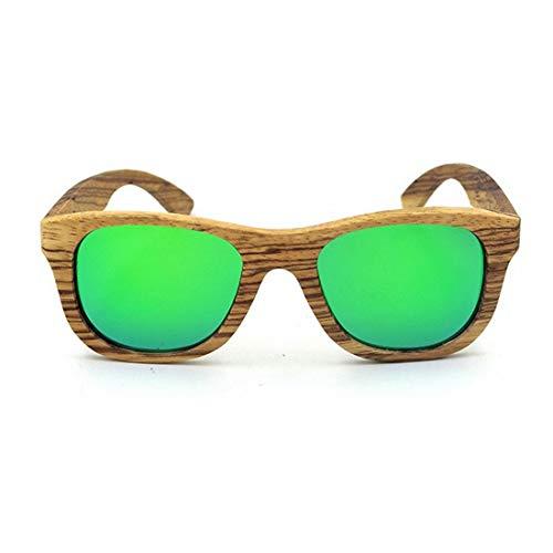 Yiph-Sunglass Sonnenbrillen Mode Retro Zebra Holz Handcraft umrandeten Sonnenbrillen farbige Linse UV400 Schutz für Unisex-Erwachsene. (Farbe : Grün)
