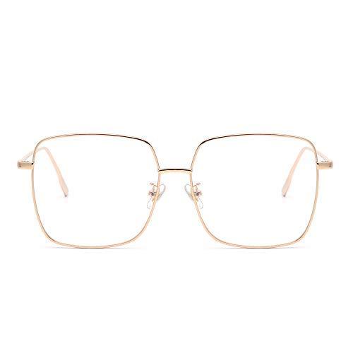 Mode Metall Optische Brillen Rahmen Platz Anti Blaues Licht Computer Gläser Augenschutz Damen Gold