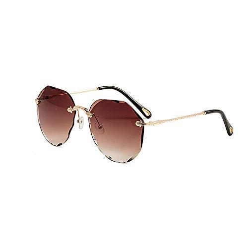 DLJRX Star Mit Der Gleichen Rahmenlosen Sonnenbrille Aus Metall (Color : Brown Lens)
