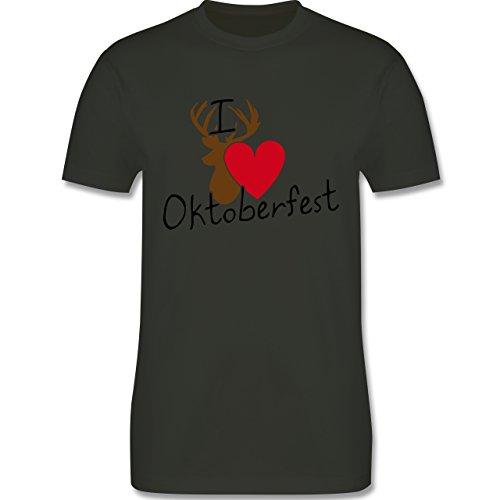 Oktoberfest Herren - Oktoberfest Love Hirsch - Herren Premium T-Shirt Army Grün