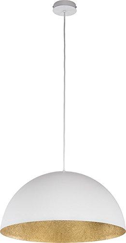 elbmöbel Design Industrie Vintage Deckenleuchte Kronleuchte SOFIE Lampe 34cm 50cm exkl. E27 Leuchtmittel, LED, A++, verfügbar weiß schwarz gold Metall Kupfer Textilkabel Wohn- Esszimmer (Weiß-Gold, 50cm) Große, Runde-tisch-lampe