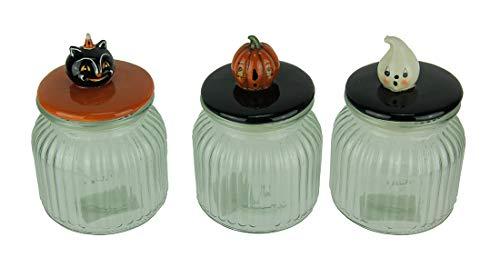 Transpac Glas Dekorative Einmachgläser Set von 3Kürbis Guckt Vintage Look Halloween Gläsern 10,8x 15,2x 10,8cm farbenreiche