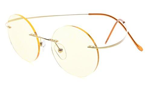 ffe0c04aac Eyekepper titanio con montura lentes teñidos amarillo redondos gafas de  lectura de computadora lectores de círculo