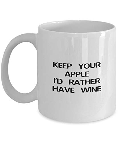 keep your apple i'd rather have wine Funny Mug Le Creuset Apple
