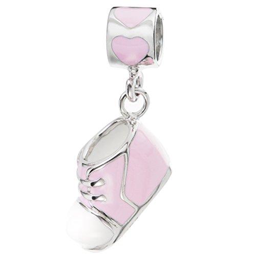 Rhodium auf 925Sterling Silber Canvas Schuh pink Emaille baumeln für europäische Charm-Armbänder -