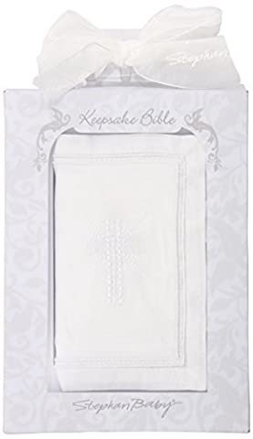 Stephan Baby Inspirational Keepsake Bible with Embroidered Cover and Ribbon-Tie Closure, White by Stephan Baby