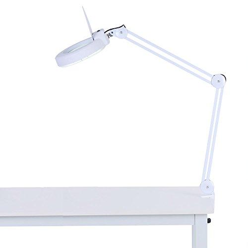 Cocoarm Lupenleuchte LED Arbeitsplatzlampe Kosmetiklampe mit 5x Lupe Klemm Lupenleuchte verstellbare Schwenkarm für Kosmetiksalons Arztpraxen Hobbybastler