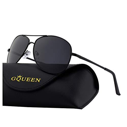 GQUEEN Klassische Federscharnieren Al-Mg Rahmen Pilotenbrille Polarisierte Sonnenbrille MOZ3
