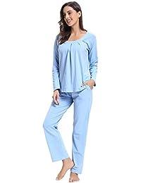 Aibrou Pijama Mujer Invierno Algodón Mangas Larga Pantalones Largo Ropa de Domir 2 Piezas Otoño