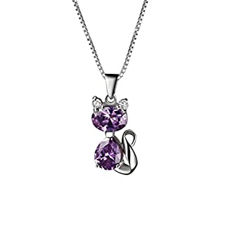 Aoneky Amethyst Cat Pendant Necklace - Valentine's Day Gift for Her, Best Sweet Present for Women and Girls Birthday, Christmas with 18