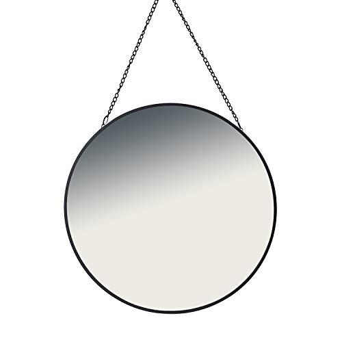 FineHome - Espejo de Pared Redondo, Espejo Decorativo, Incluye Cadena, diámetro de 60 cm, Color Negro...