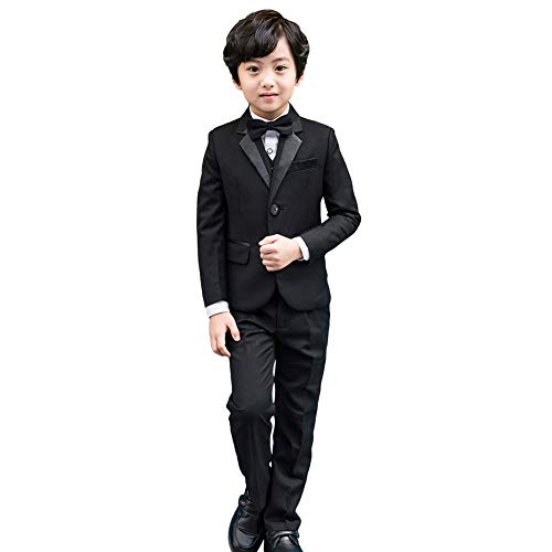 5-tlg Jungen Smoking Schwarz Jungen Anzug,Page Boy Anzüge Jungen Hochzeit passt - 152 (Herstellergröße: 150) -
