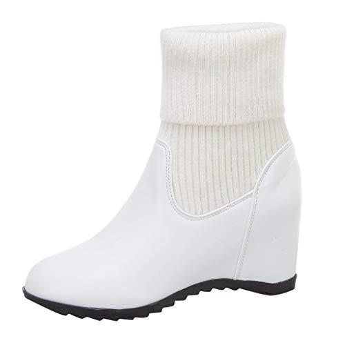 Floweworld Damenstiefeletten Wintermode Einfarbig Slip-On Keilstiefel Runde Kappe Mittelrohr Socken Stiefel Warm halten Lässige Schneeschuhe