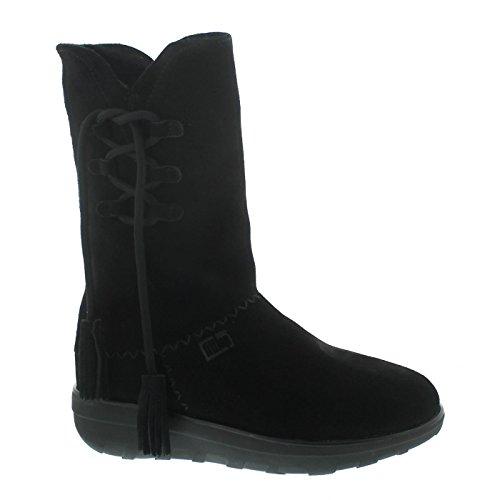 Fitflop Mukluk Boots (Fitflop Mukluk High Boot With Tassels, Warmfutter, Veloursleder, schwarz 189-001, Größe 41)