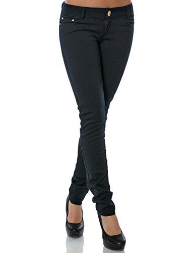 Kostüm Stretch - Damen Hose Treggings Skinny Röhre No 13011 S 36 Navy
