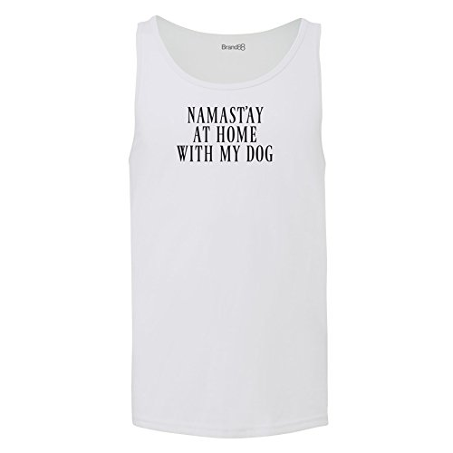 Brand88 - Namast'ay At Home With My Dog, Unisex Jersey Weste Weiß