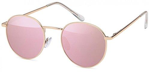 styleBREAKER Sonnenbrille in Panto-Form mit runden Flachgläsern und Metall Bügel, Unisex 09020077, Farbe:Gestell Gold/Glas Pink verspiegelt