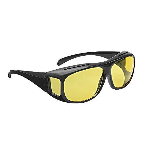 Posan Überzieh Nachtsichtbrille, Blendschutzbrille Nachtsichtbrille für Autofahrer, Brillenträger(schwarz/gelb)