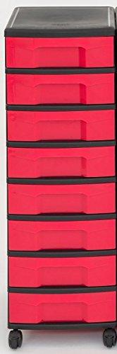 Unbekannt IRIS Schubladenbox mit Rollen, Kunststoff, rot/schwarz (8 Kleine) - Schubladenschrank...