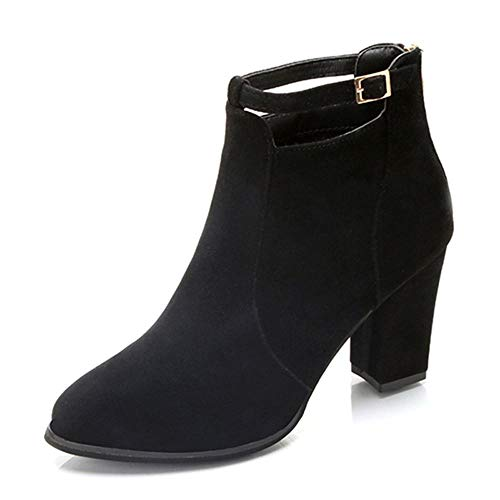 Yesmile Zapatos de mujer❤️Zapatos Mujeres Buckle Ladies Belt Faux Warm Boots Botines Tacones Altos Christmas Shoes