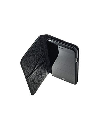 QIOTTI >             Apple iPhone 5 / 5S / SE             < incl. PANZERGLAS H9 HD+ Geschenbox Booklet Wallet Case Hülle Premium Tasche aus echtem Kalbsleder mit KARTENFÄCHER und STANDFUNKTION. Edel verpackt incl. Stoffbeute SCHWARZ