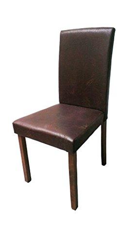 SAM® Polster-Stuhl Billi, Esszimmer-Stuhl in dunkelbrauner Antik-Optik, Stuhlbeine nussbaumfarbig, massiver Design-Stuhl in Wildlederoptik für Küche und Esszimmer
