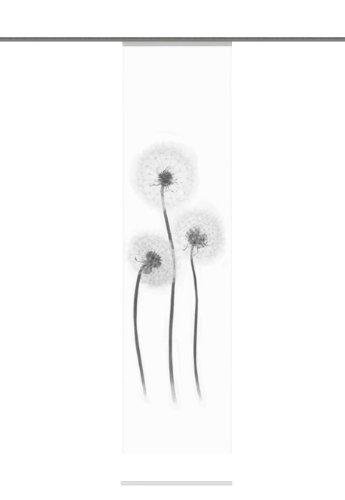Home Fashion 87428-796 Schiebevorhang Digitaldruck Freiburg, Deko, 245 x 60 cm, schwarz-weiß (Weiße Und Schwarze Blumen-vorhänge)
