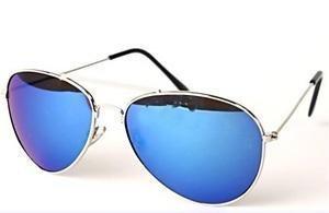 Eyewear World Sonnenbrille, silberfarbener Metallrahmen, Blaue verspiegelte Gläser, mit gelber Kordel