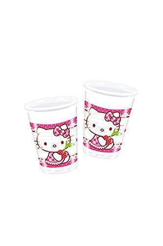 8 Becher * HELLO KITTY * für Kindergeburtstag // Partybecher Kinder Geburtstag Party Fete Set Hearts Rosa Pink Mädchen (Kitty-2. Geburtstag Hello)