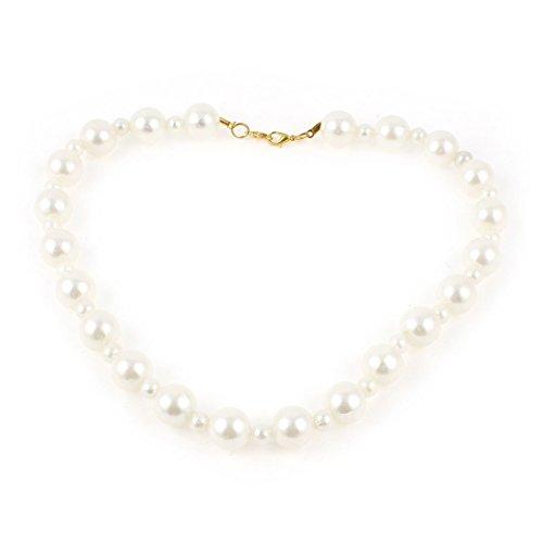 Faux-Perlen-Korn-Akzent-Strickjacke-Kleid-Brosche Kette für Lady White -